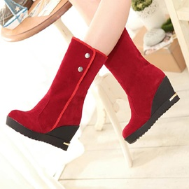 Faux Suede Slip-On Plush Women's Wedge Boots