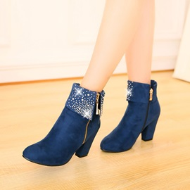 Faux Suede Side Zipper Rhinestone Women's Ankle Boots