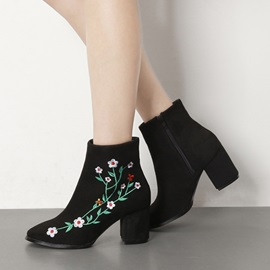 Faux Suede Embroidery Floral Chunky Heel Women's Boots
