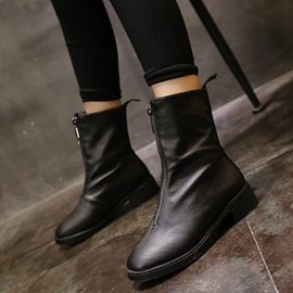 PU Front Zipper Block Heel Women's Black Boots