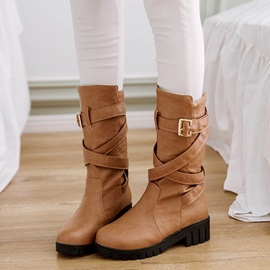 PU Buckle Slip-On Block Heel Women's Knee High Boots