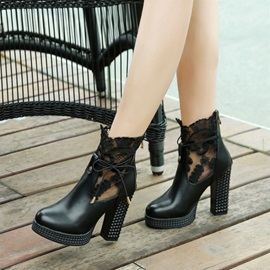 PU Back Zip Lace Chunky Heel Women's Boots