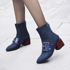 Faux Suede Buckle Back Zip Women's Ankle Boots