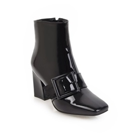 Patent Leather Buckle Square Toe Women's Boots