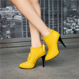 PU Front Zipper Pointed Toe Fringe Women's Boots