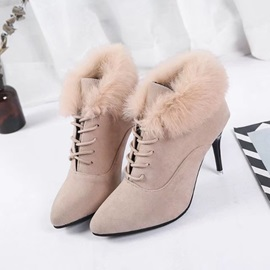 Faux Suede Pointed Toe Lace-Up Front Women's Boots
