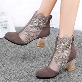 Mesh Back Zip Chunky Heel Women's Ankle Boots