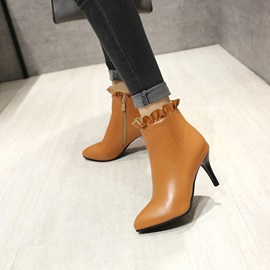 PU Ruffles Side Zipper Pointed Toe Women's Boots