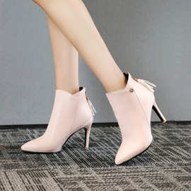 PU Back Zip Pointed Toe Sequin Women's Chic Boots