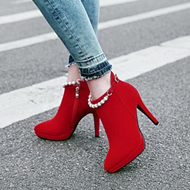 Faux Suede Beads Chain Rhinestone Women's Ankle Boots
