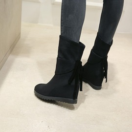 Faux Suede Lace-Up Back Hidden Heel Wedge Boots