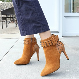 Faux Suede Patchwork Buckle Rivets Women's Boots