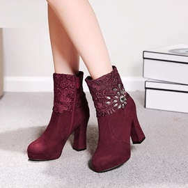 Faux Suede Side Zipper Lace Rhinestone Women's Boots