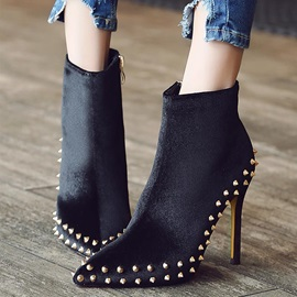 Faux Suede Rivets Side Zipper Pointed Toe Ankle Boots