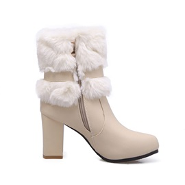 PU Buckle Sequin  Winter Boots for Women