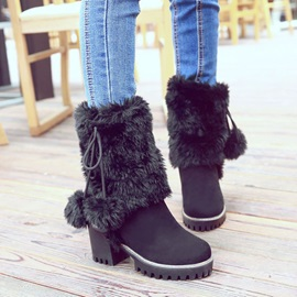 Faux Suede Lace-Up Patchwork Snow Boots for Women