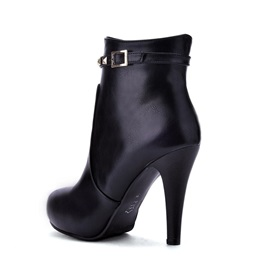 PU Side Zipper Buckle Rivets Women's Ankle Boots
