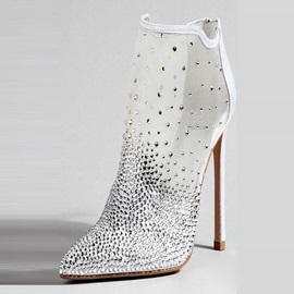 Mesh Back Zip Rhinestone Pointed Toe Women's Boots