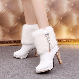 PU Fringe Rhinestone Patchwork Women's Ankle Boots