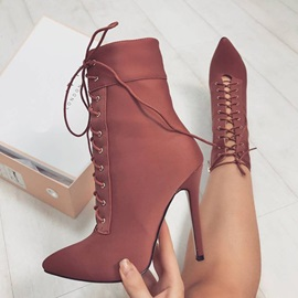 Lace-Up Stiletto Heel Women's Boots