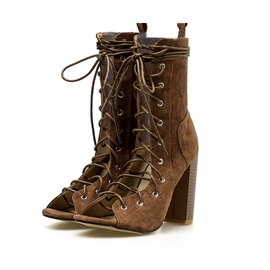 Peep Toe Lace-Up Front Chunky Heel Women's Boots