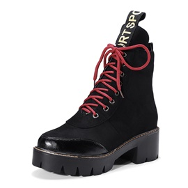 Lace-Up Front Block Heel Women's Boots