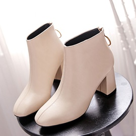 PU Square Toe Chunky Heel Women's Ankle Boots