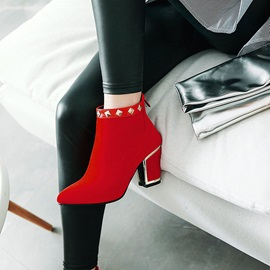 Faux Suede Back Zip Chunky Heel Women's Ankle Boots