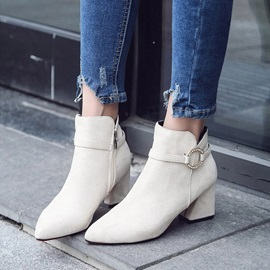 Side Zipper Pointed Toe Chunky Heel Ankle Boots