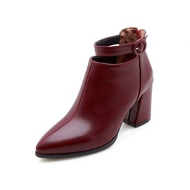 Pointed Toe Back Zip Chunky Heel Women's Ankle Boots