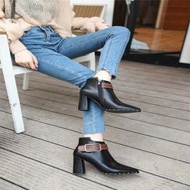 Rivet Pointed Toe Chunky Heel Women's Ankle Boots