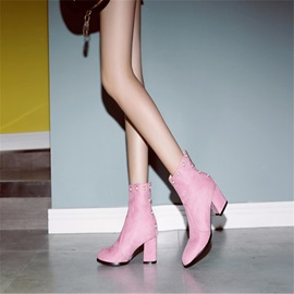 Beads Round Toe Chunky Heel Women's Ankle Boots