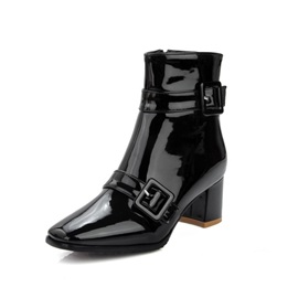 Square Toe Side  Chunky Heel Women's Ankle Boots