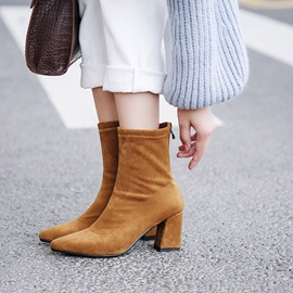 Plain Pointed Toe Chunky Heel Women's Ankle Boots