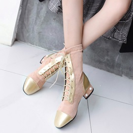 Beads Patchwork Square Toe Block Heel Women's Ankle Boots