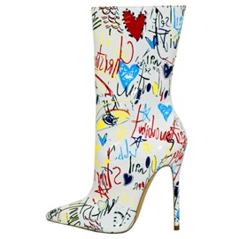 Print Pointed Toe Stiletto Heel Women's Ankle Boots