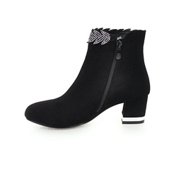 Rhinestone Plain Side Zipper Chunky Heel Women's Boots