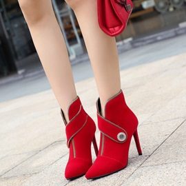 Plain Pointed Toe Stiletto Heel Women's Boots