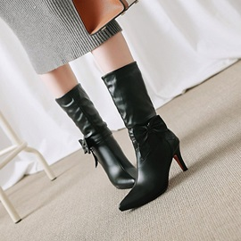 Bow Pointed Toe Stiletto Heel Boots