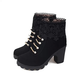 Lace Patchwork Round Toe Chunky Heel Women's Boots
