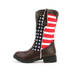 Patchwork Round Toe Slip-On Women's Calf High Boots