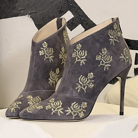 Floral Back Zip Stiletto Heel Women's Ankle Boots
