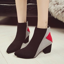 Pointed Toe Chunky Heel Side  Women's Boots