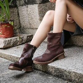Side Zipper Round Toe Plain Women's Winter Boots