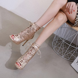 Peep Toe Stiletto Heel Lace-Up Front Women's Ankle Boots