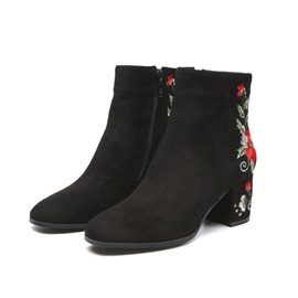 Floral Embroidery Round Toe Chunky Heel Women's Boots