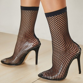 Mesh Stiletto Heel Pointed Toe Women's Ankle Boots