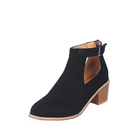 Thread Round Toe  Plain Vintage Ankle Boots