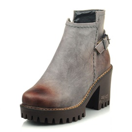 Front Zipper Chunky Heel Women's Ankle Boots