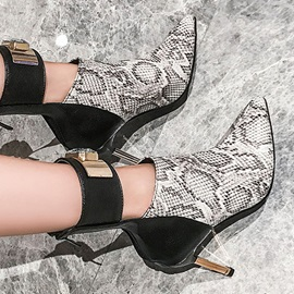 Pointed Toe Stiletto Heel Serpentine Women's Ankle Boots